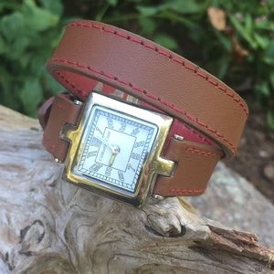 Coldwater Creek Silver/Brown Leather Strap Watch